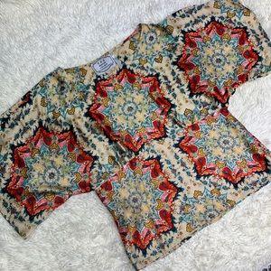 KAS NY Anthropologie Winterstar Floral Kimono Top